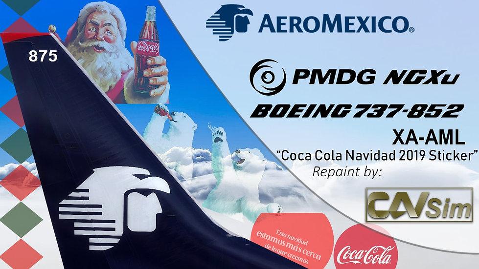 B737-852(SSW) AeroMexico 'Coca-Cola Navidad 2019 Sticker' 'XA-AML'