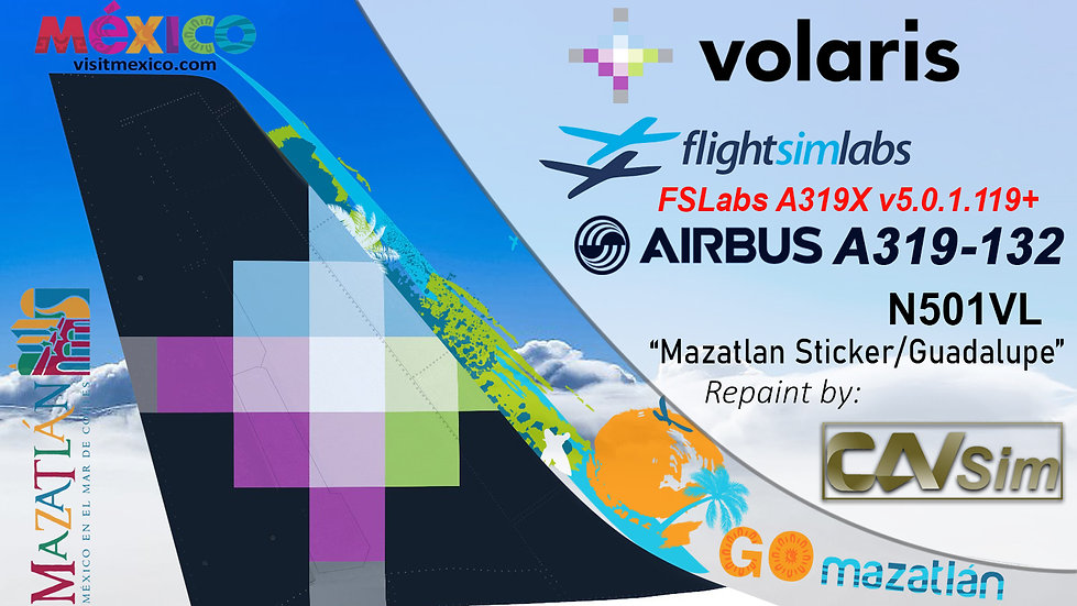 A319-133 (WT) Volaris 'Mazatlán - Guadalupe''N501VL'
