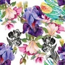 Colorful Floral w/BW Ornate Rice Decoupage