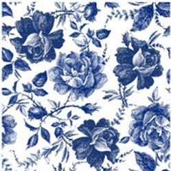 Blue Sketched Flowers Ornate Rice Decoupage