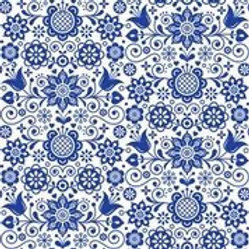 Blue Glass Ornate Rice Decoupage