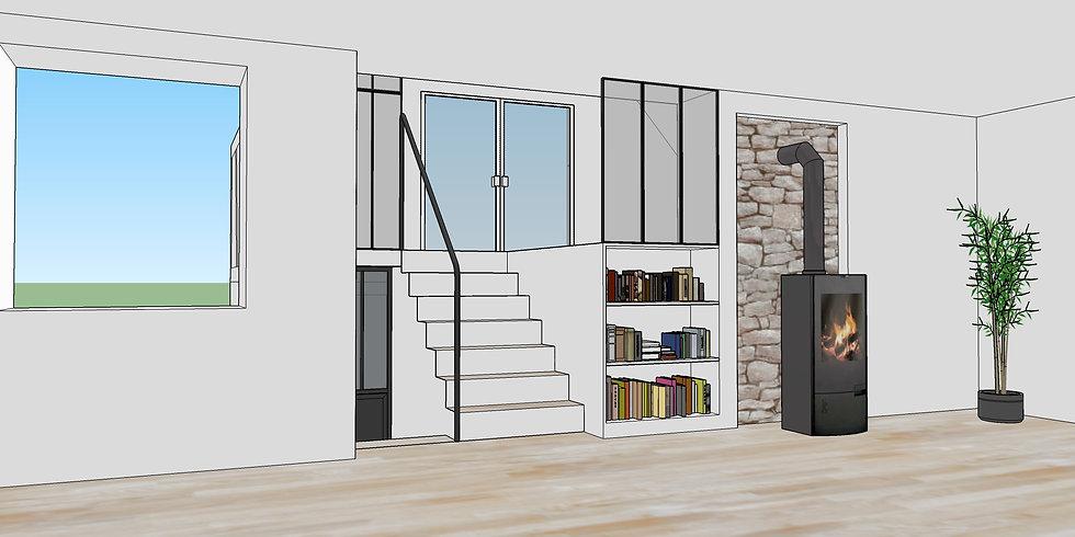 modélisation 3D escalier extension