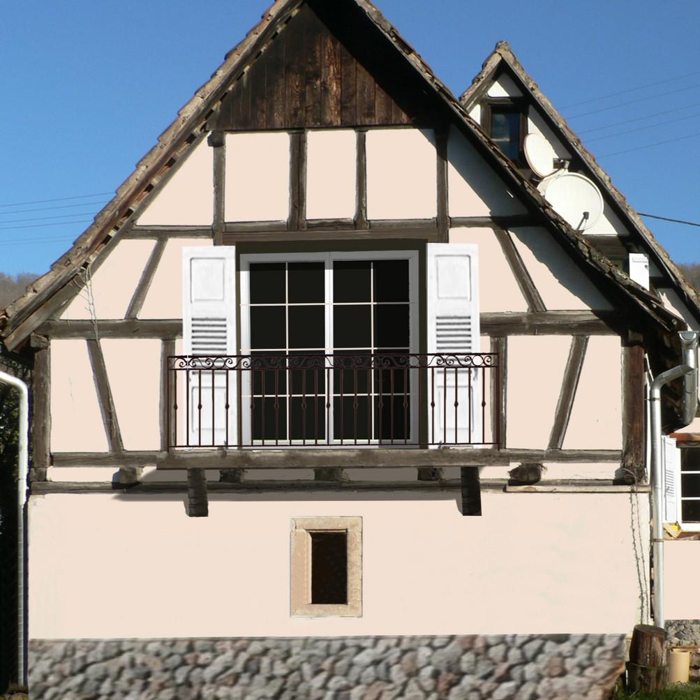 Ajout d'élements extérieurs et coloration de façade