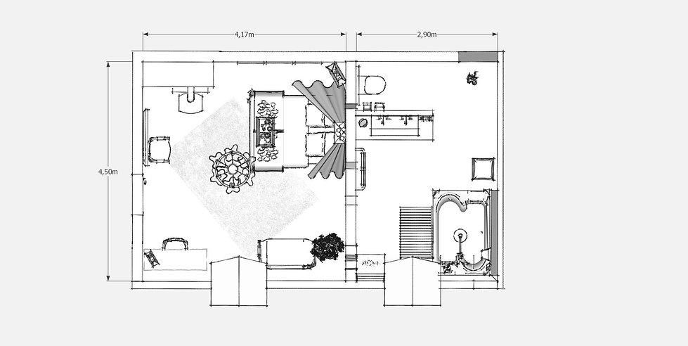 création d'espace plan chambre d'hôte manoir