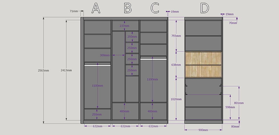 modélisation 3D plan technique fabrication dressing agencement sur-mesure