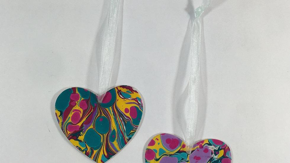 Ceramic heart baubles