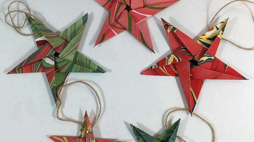 Ebru Paper Origami Stars