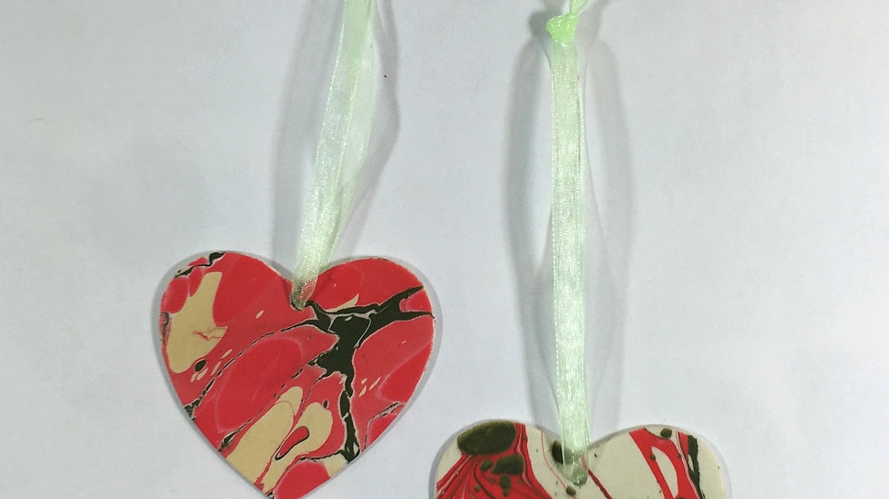 Christmas Ceramic heart baubles