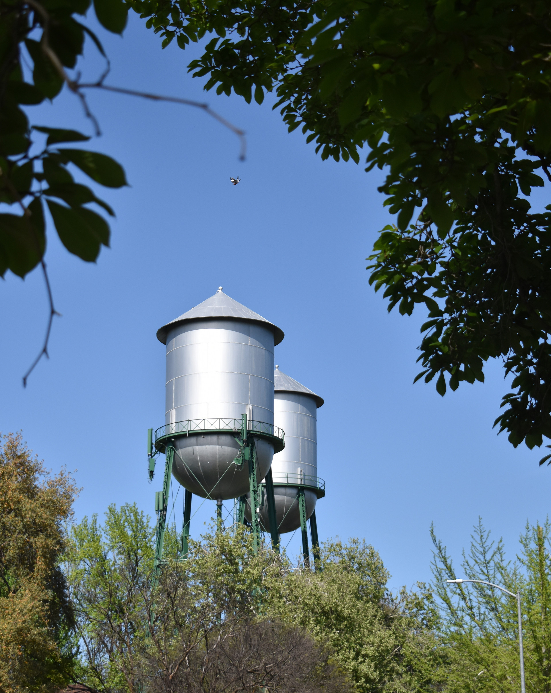 Twin water towers are a nearby landmark