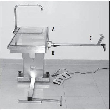 Fig. 1 The orthopaedic table with the lateral rails (A), clamps (B), and the micrometric traction stand (C).