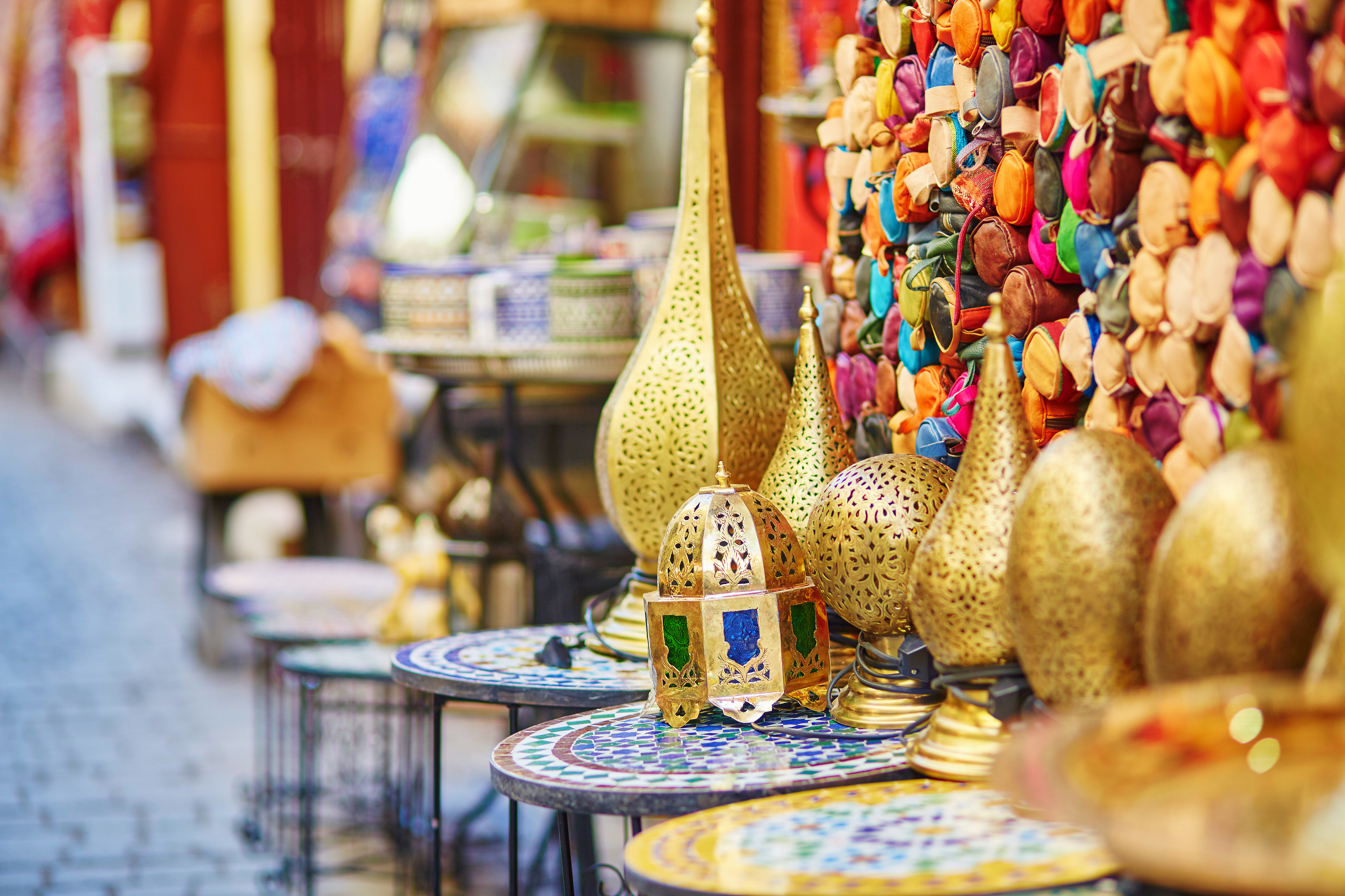 Selection of traditional lamps on Morocc