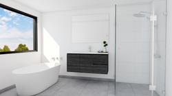 Sleek and simple 3D render bathroom renovation