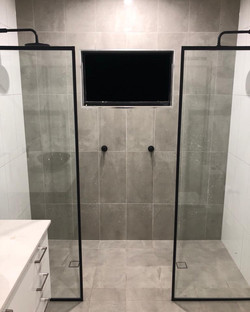 Kononen Project - Bathroom renovation Adelaide with matte black fixtures and shower screen by Bathe