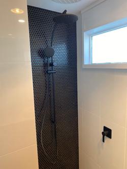 West Beach bathroom renovation matte black tapware