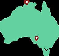 Map of Darwin and Adelaide plumbers Pett