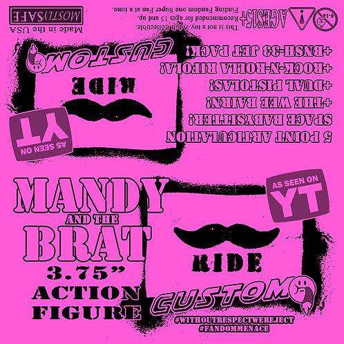 Custom Action Figure 5poa  - MANDY and the BRAT! Mustache Ride Designer Art Toy