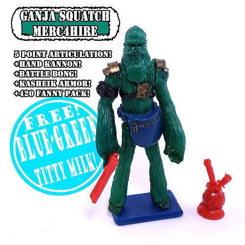 Custom Action Figure 5poa 3.75 Ganja Squatch - Mustache Ride Designer Art Toys