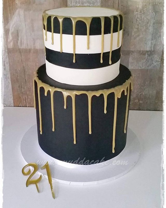 Black And White Striped Gold Drip 21st Cake