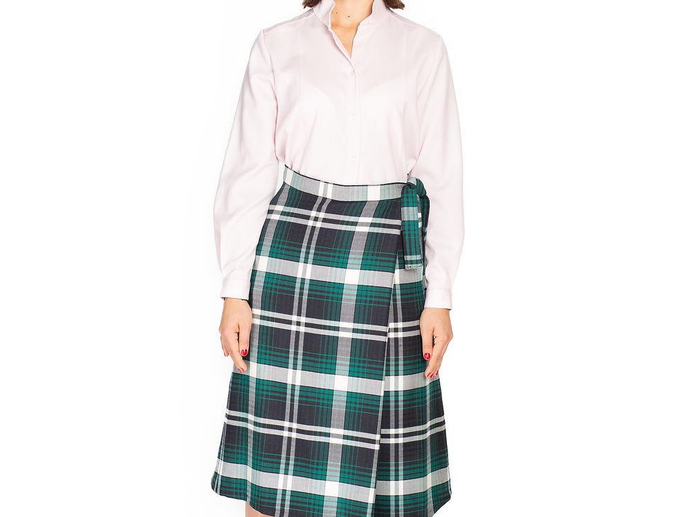 Checked Wool Asymetrical Midi Skirt