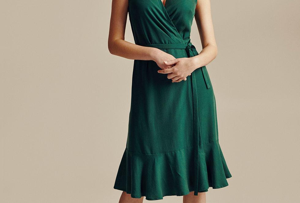 Green Tencel Sleeveless Wrap Dress