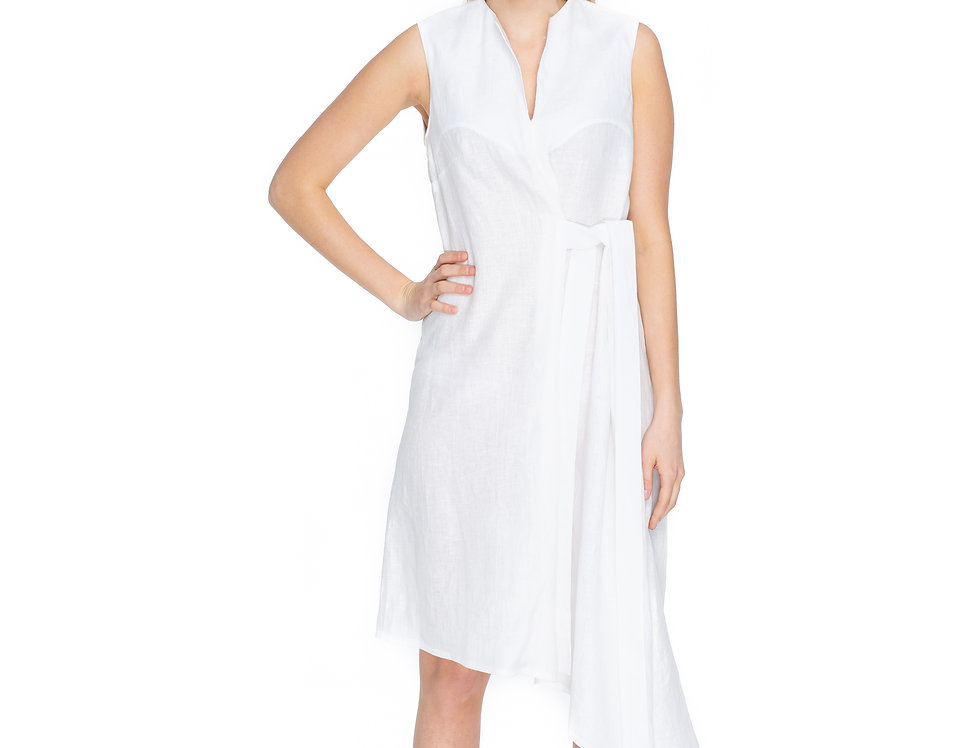 Ivory Linen Midi Asymmetrical Flare Dress