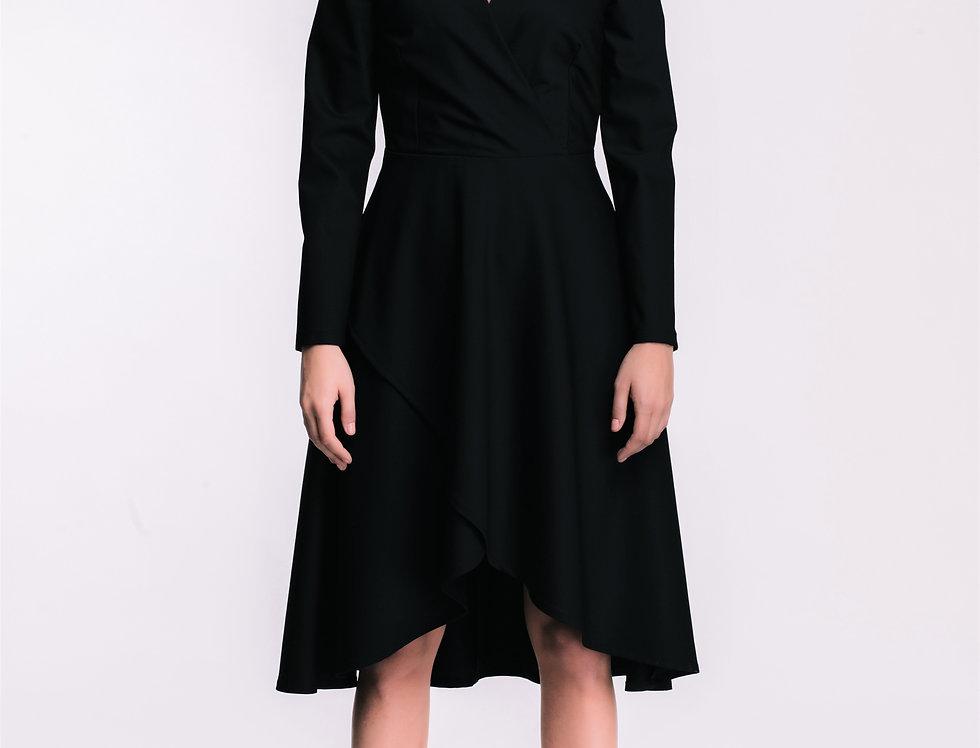 Black Wool False Wrap Dress