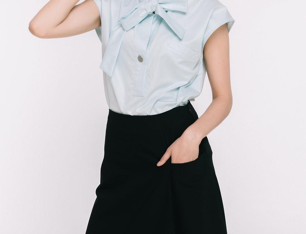 Black Wool Flare Skirt