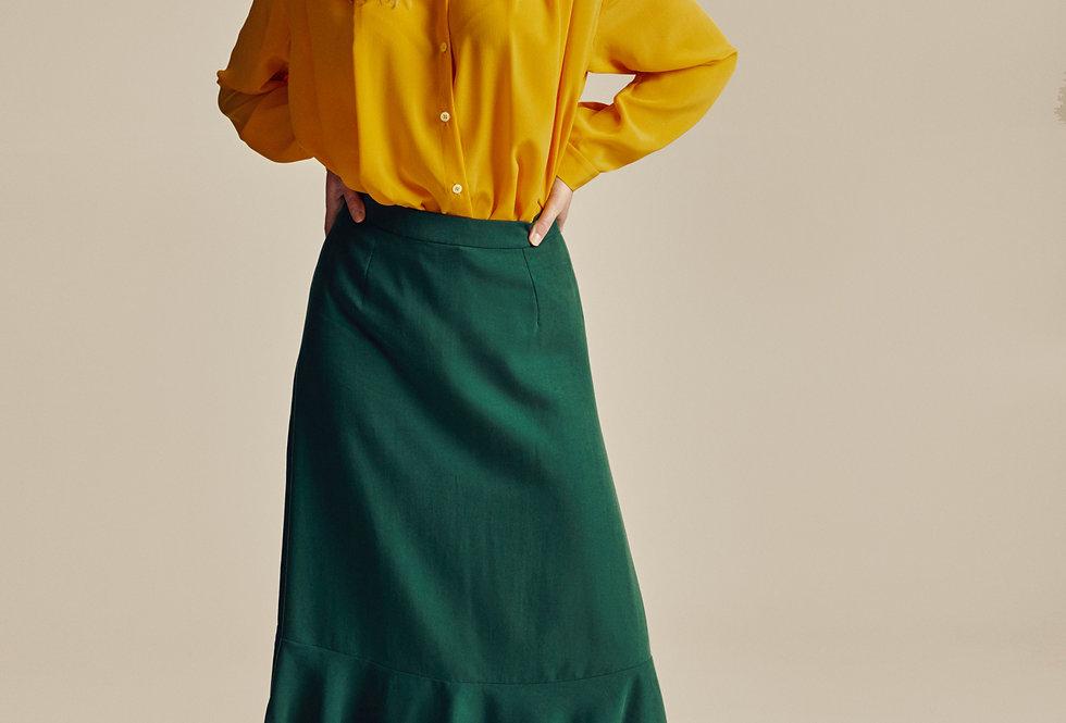 Green Tencel Midi Skirt with Peplum