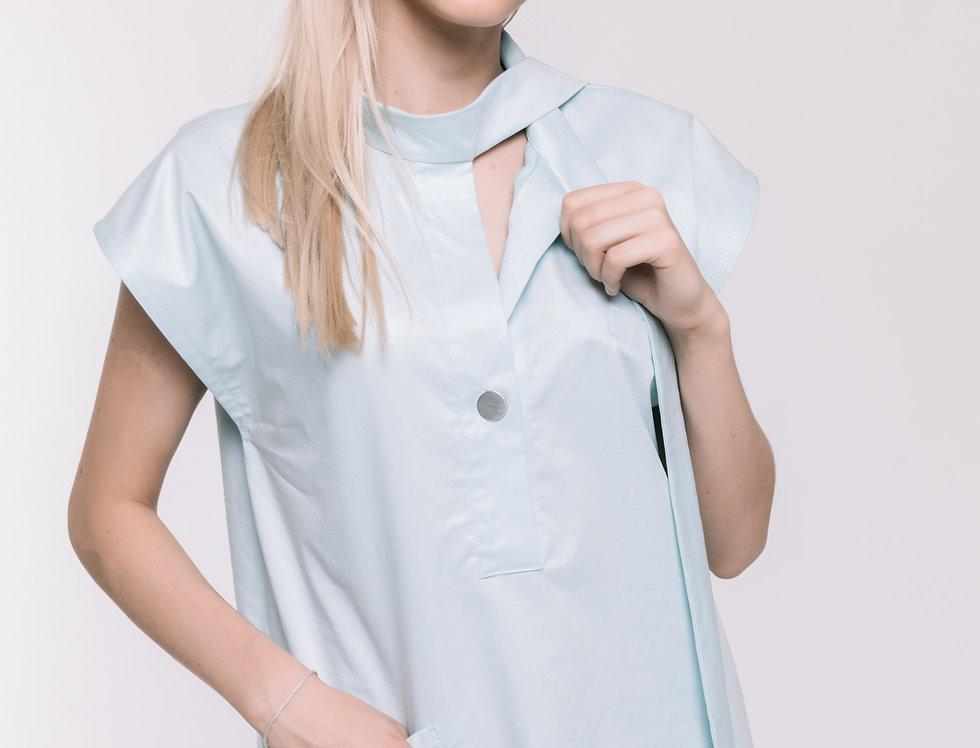 Light Blue Cotton Sleeveless Shirt