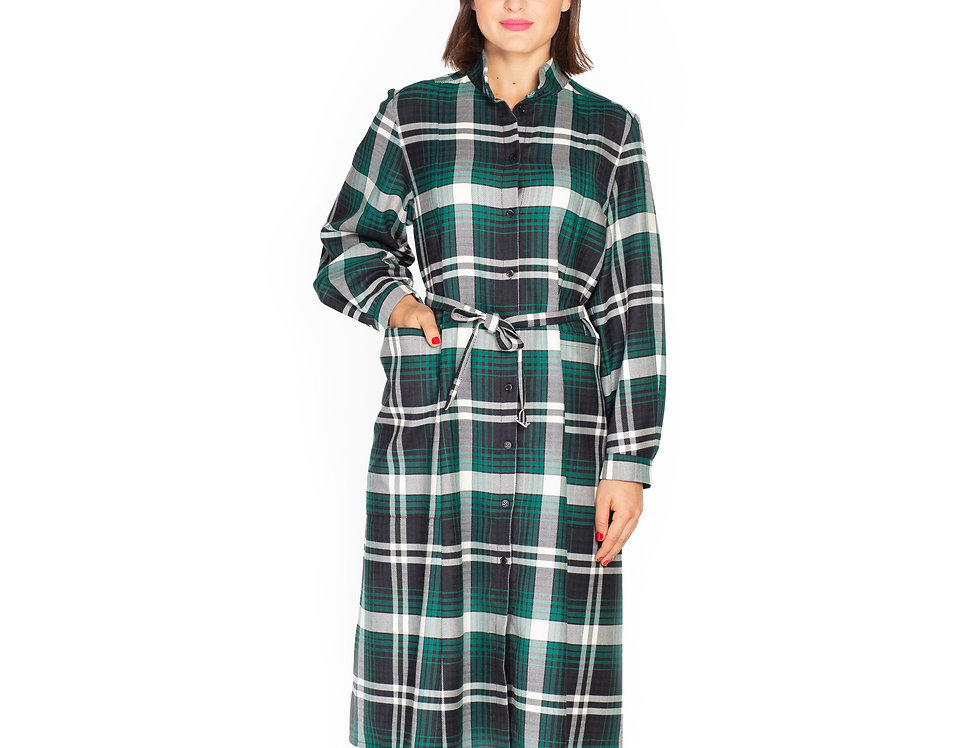 Checked Wool Midi Shirt Dress with Poet Sleeves