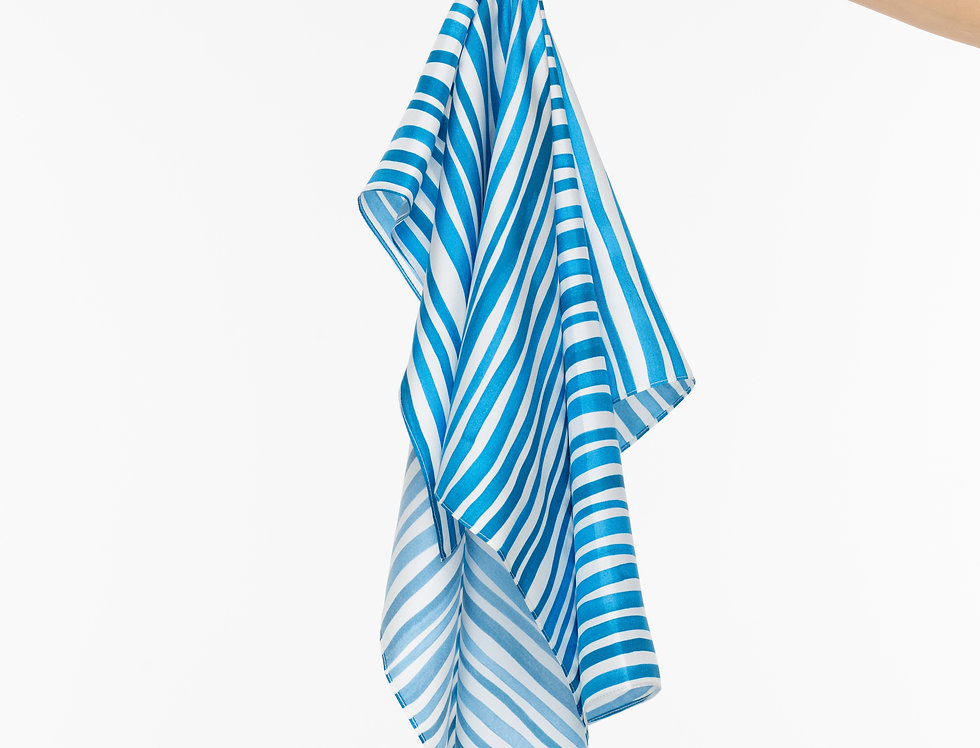 White and Blue Striped Silk Scarf