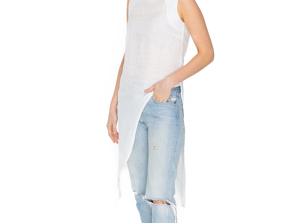 Ivory Linen Sleeveless Tunic