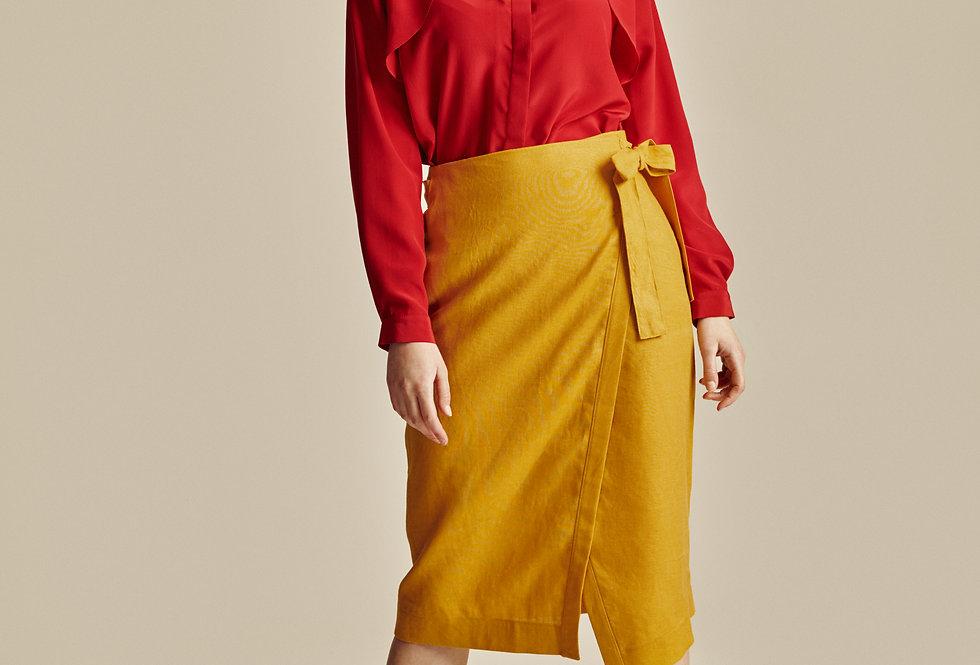 Yellow Linen Midi Wrap Skirt