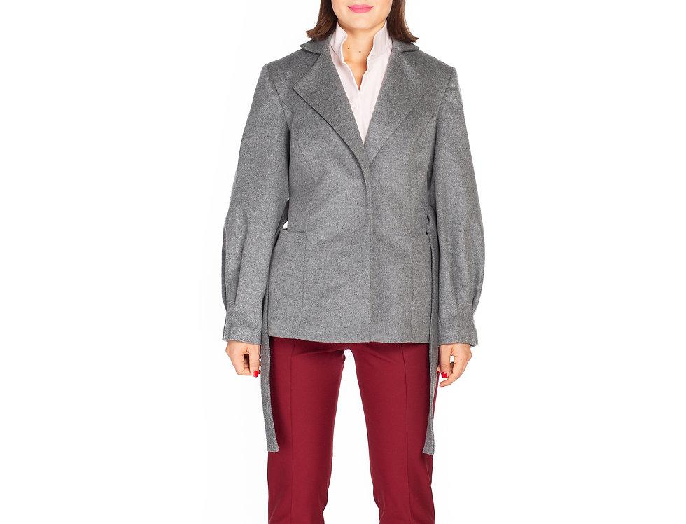 Grey Short Wool Coat with Poet Sleeves