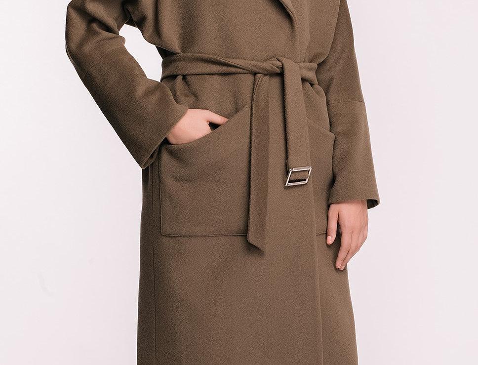 Sand Long Wool Wrap Coat