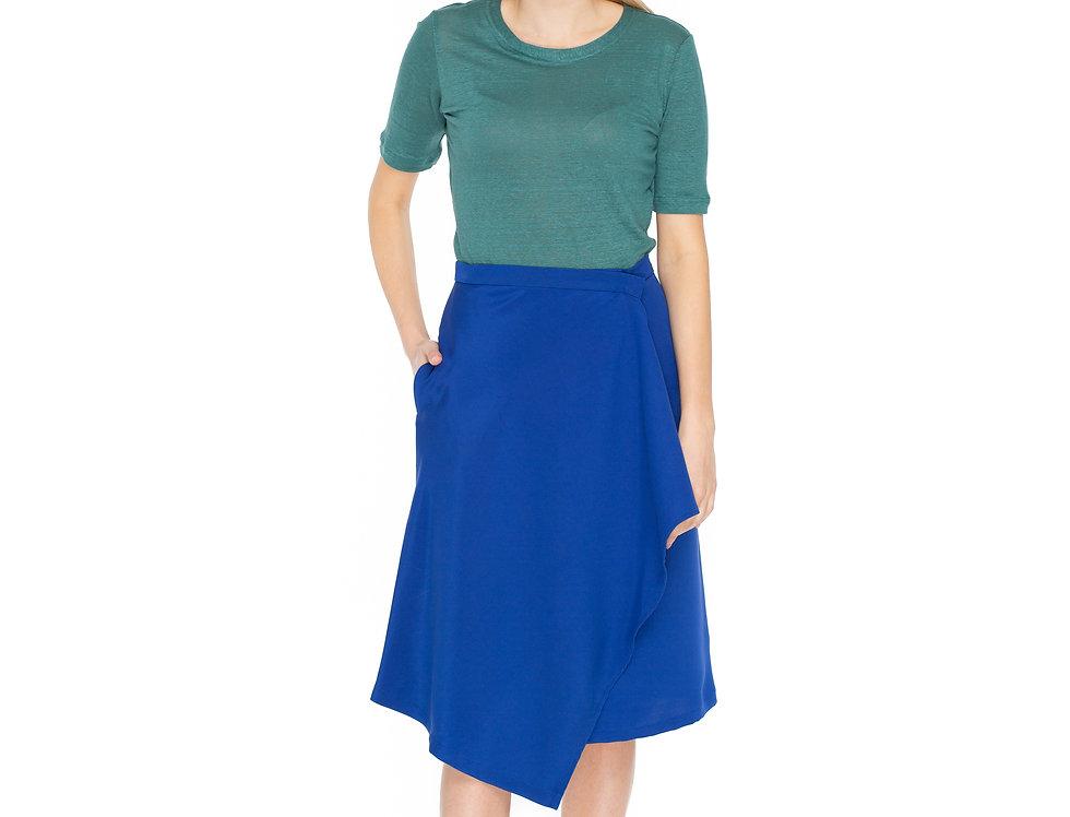 Royal Blue Silk Midi Wrap Skirt