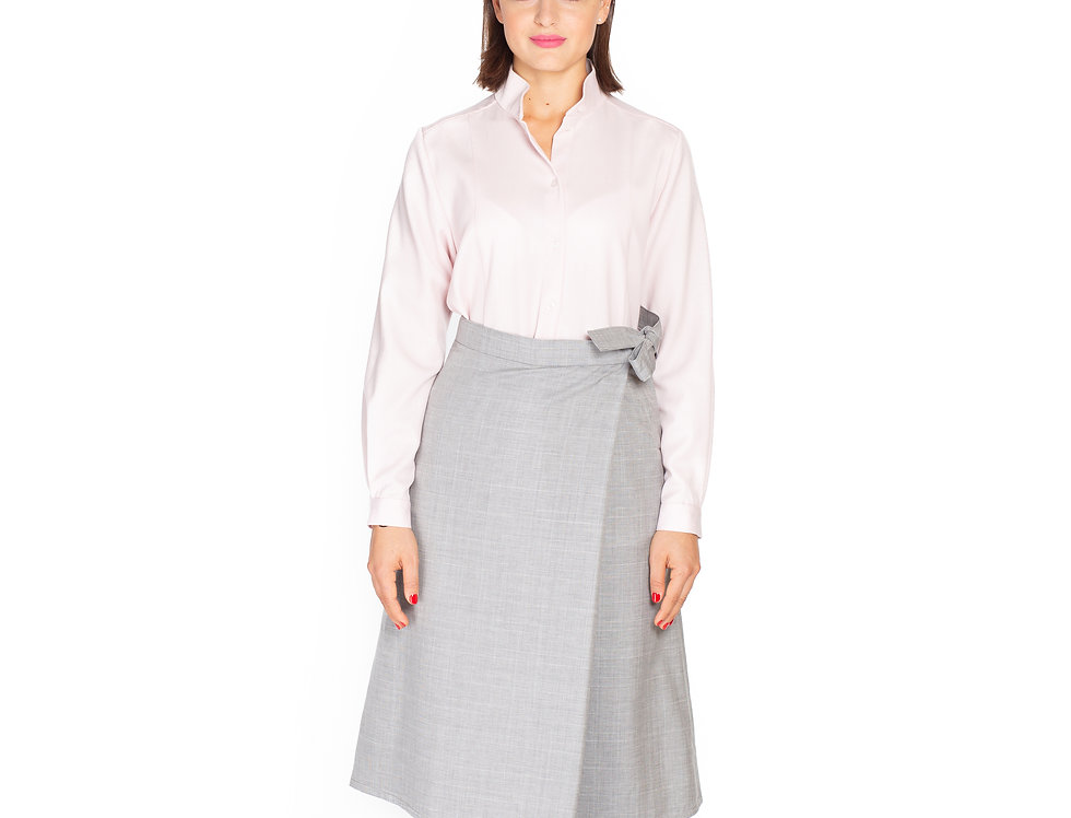 Checked Grey Wool Asymetrical Midi Skirt