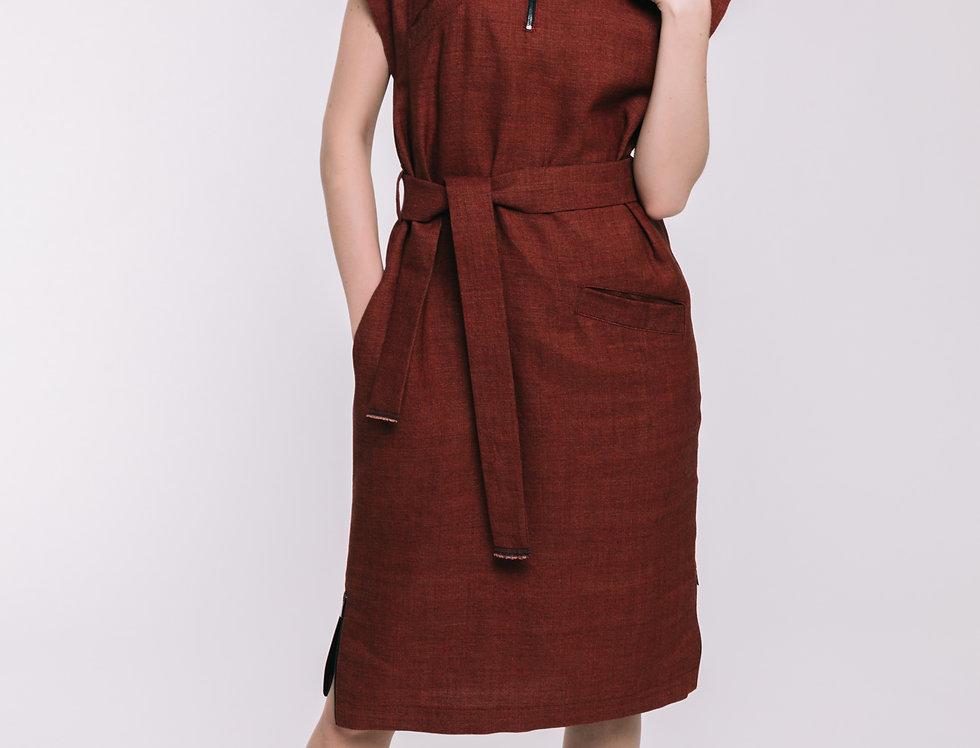 Red Wool - Linen Oversized Dress