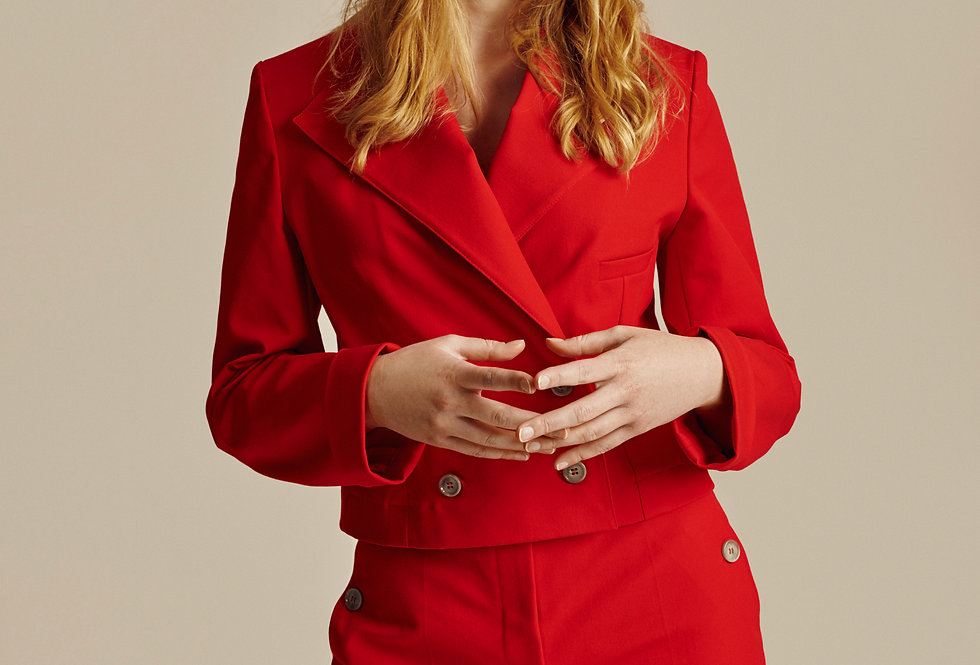 Short Red Cotton Double Breasted Blazer
