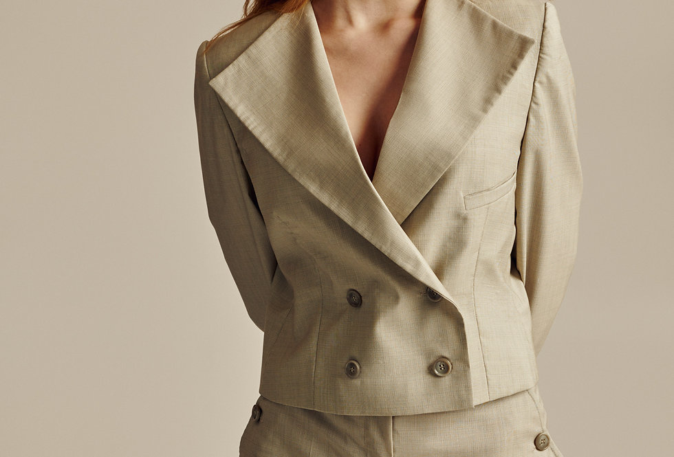 Short Beige Wool Double Breasted Blazer