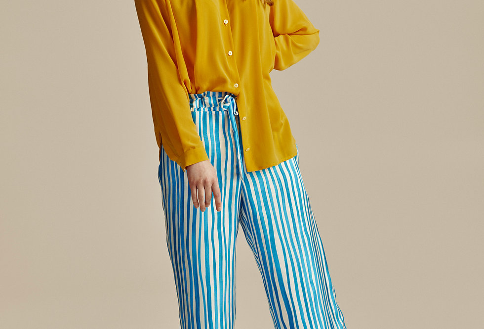 White and Blue Striped Silk Trousers