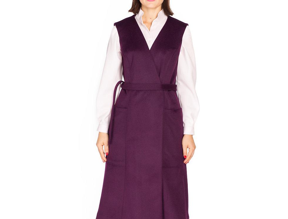 Dark Purple Wool Vest Dress