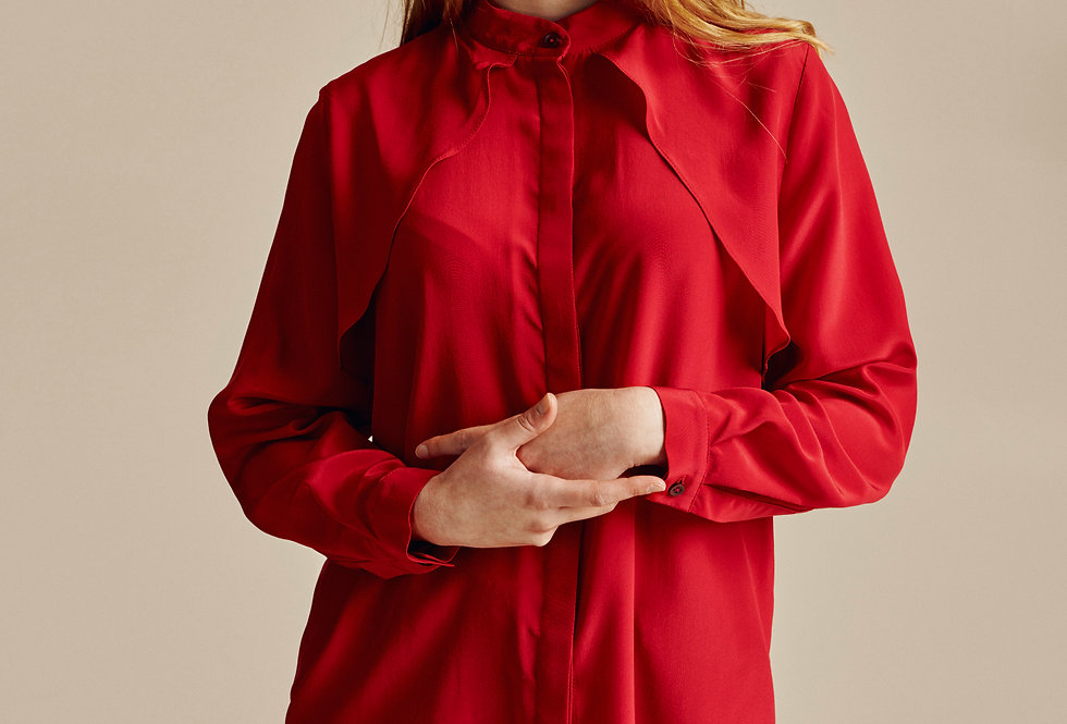 Red Silk Trench Style Shirt