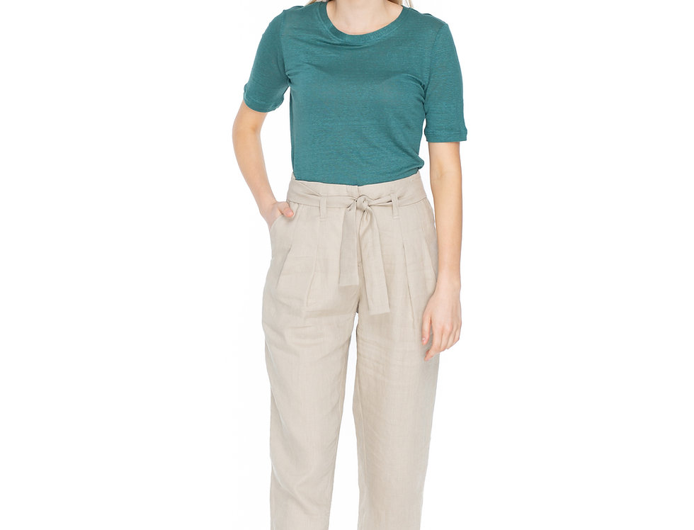 Beige Linen Ankle Length Trousers