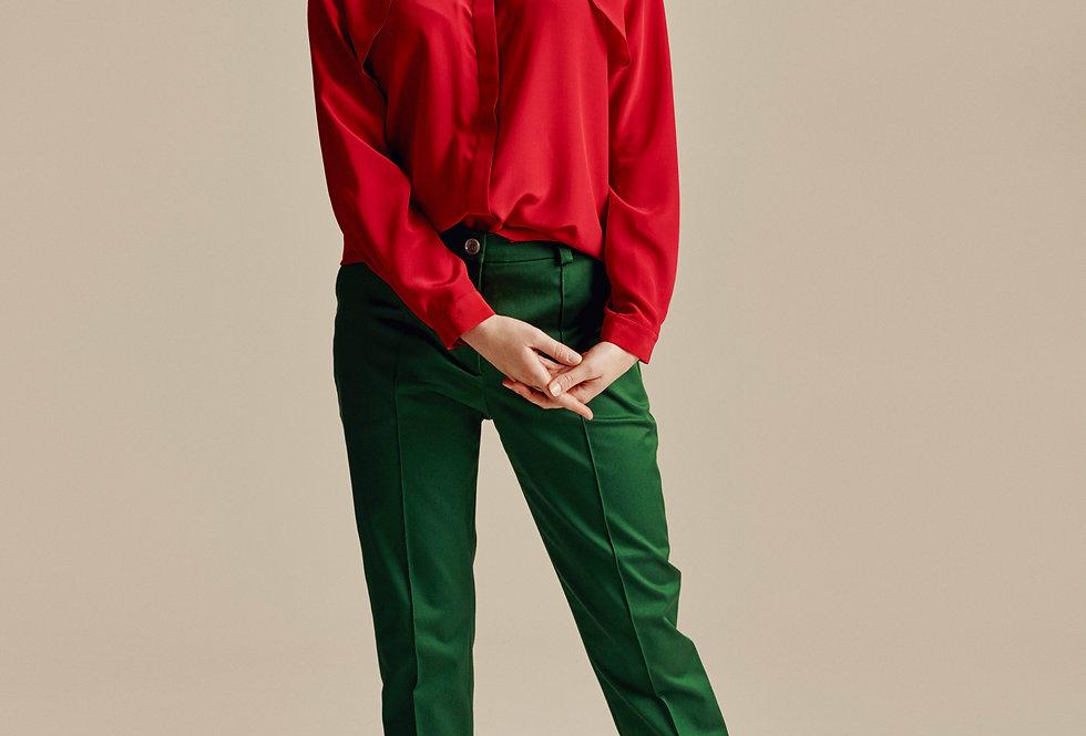 Green Cotton Cigarette Trousers