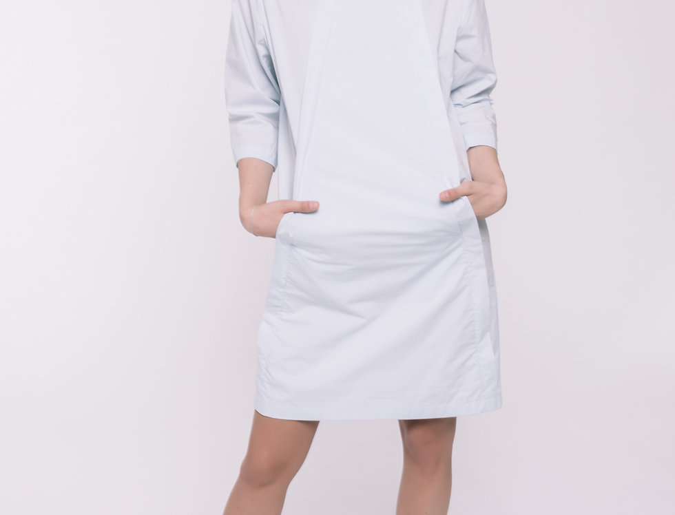 Light Blue Cotton Straight Dress