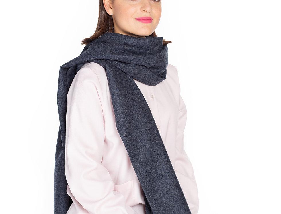 Soft Grey-Blue Melange Scarf in Wool-Alpaca Blend