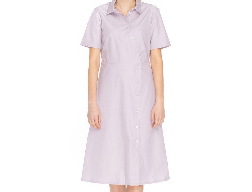 Lila Cotton Midi Asymmetrical Shirt Dress