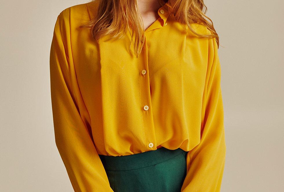 Yellow Silk Oversized Shirt