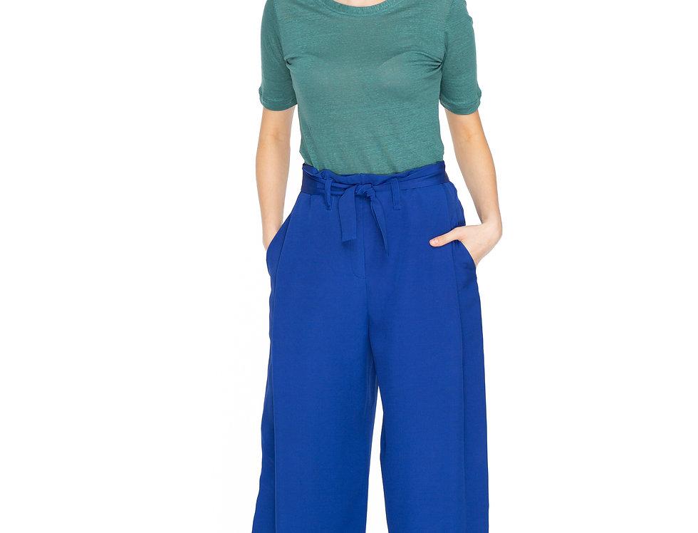 Royal Blue Long Silk Palazzo Trousers